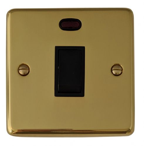 G&H CB26B Standard Plate Polished Brass 1 Gang 20 Amp Double Pole Switch & Neon